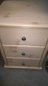 Large cream / beige bed side table with 3 drawers great condition