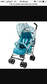 Brand new my babiie teal polka stroller with changing bag