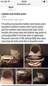Beautiful leather and wicker pram