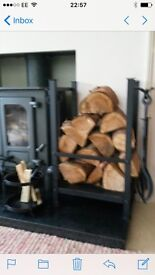 Cast iron log holder & tool set