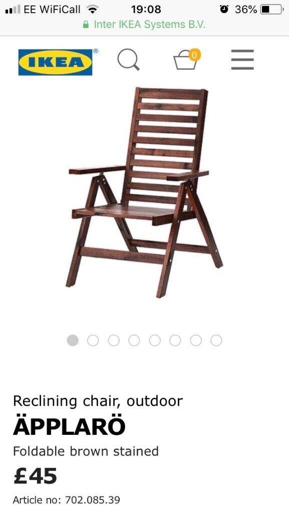 Terrific 4 Ikea Wooden Reclining Folding Garden Chairs In Palmers Creativecarmelina Interior Chair Design Creativecarmelinacom