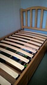 Light Ash Finished Wooden Framed Single Bed Still Under Warranty Guarantee