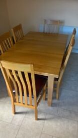 Turveys Solid Oak Extending Dining Table and Chairs