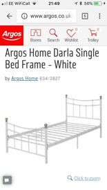 White Metal Single Bed with new mattress