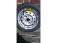Wheel + tyre, unused, for 10 year old Daewoo Matiz. 14 inches
