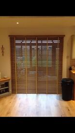 Oak wooden Venetian blinds with taping