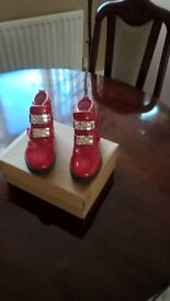 red diamante painting leather boots x