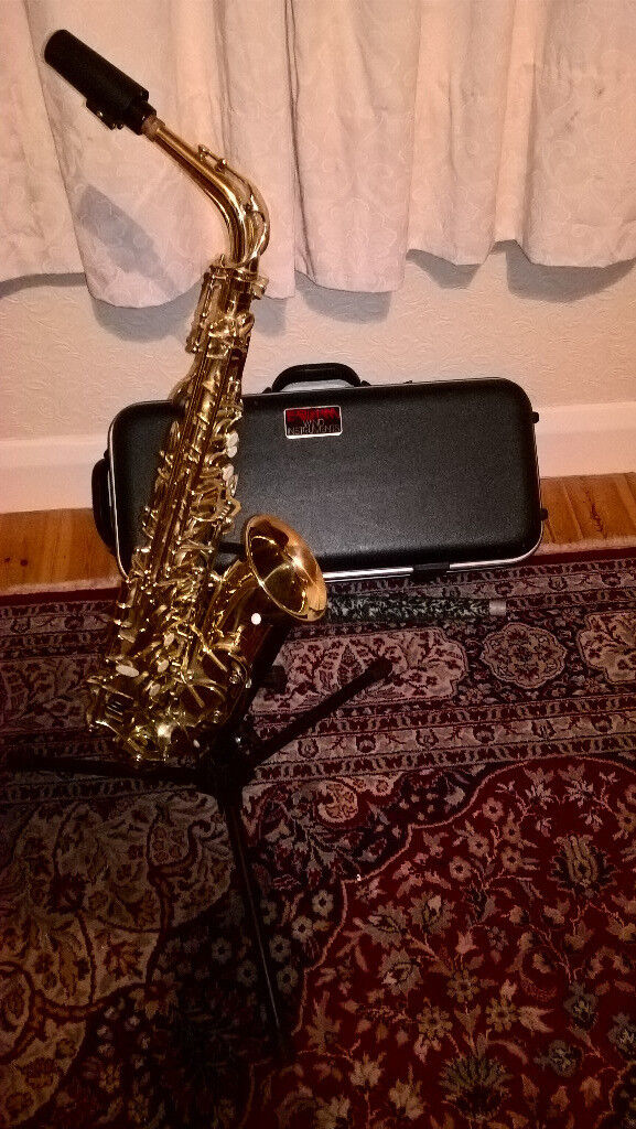 Earlham Alto Saxaphone - Professional series 2. with rigid case, strap, some reeds and and stand.