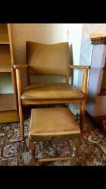 Wooden and Tan Leather Armchair with Footstool