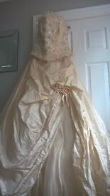 Champagne wedding silk wedding gown