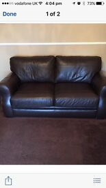2 x 2 seater sofas, brown leather, excellent condition ,collect only