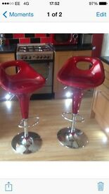 2 red stools for sale. £20 for both. Need the space. Contact Kelly 07958 919248
