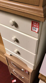 nordic 3 drawer white bedside