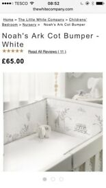 Little white company Noah's ark cot bumper and cot bed blanket
