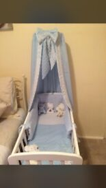 Crib /cot drapes & rod baby blue & bumpers