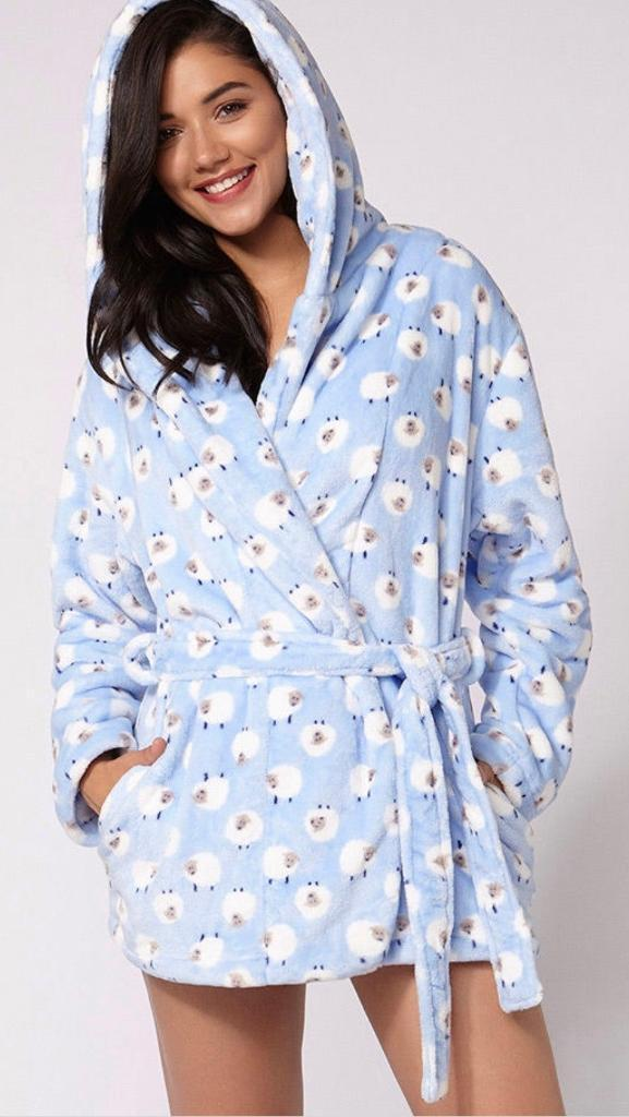 Boux Avenue Lamp Cropped Dressing Gown Robe Nightwear In East