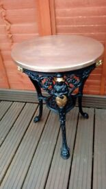 Iron pub table with copper top