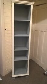 shabby chic tall solid wood bookcase with 4 shelfs