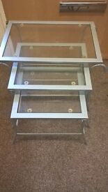 modern nest of 3 tables silver frame glass top