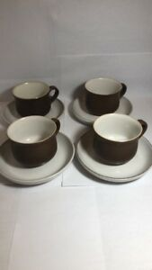 Denby Stoneware Pottery Set of 4 Cups and Saucers