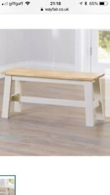 Large Bench Cream/ Oak - Brand new from Wayfair
