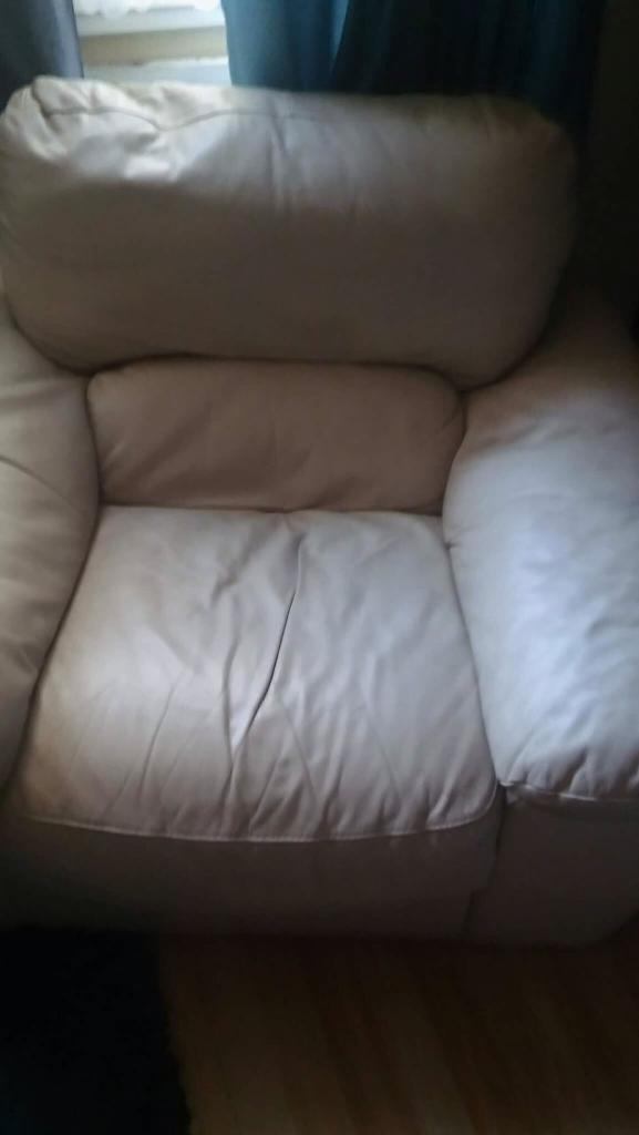 2 seater sofa and a chair white leather
