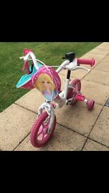 ****GIRLS BARBIE BIKE WITH STABILISERS & MATCHING HELMET****