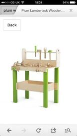 Plum wooden workbench tool bench children toy brand new in box