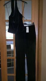 NEW Ladies 2-piece blue velvet 'dressy' trouser suit, size 8 from Next