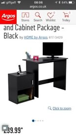 New still flat packed Argos desk cabinet and chair