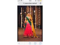 Mehndi bridal dress green yellow pink size 6 petite Ayeza khan style dress
