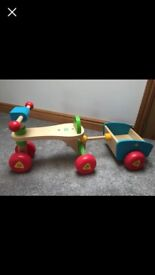 ELC wooden ride on trike with removable trailer