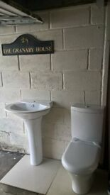 toilet system and basin n pedestal