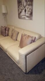 Lovely Gillies three seater cream leather sofa and armchair