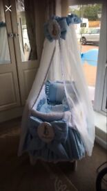 Baby blue Moses cot