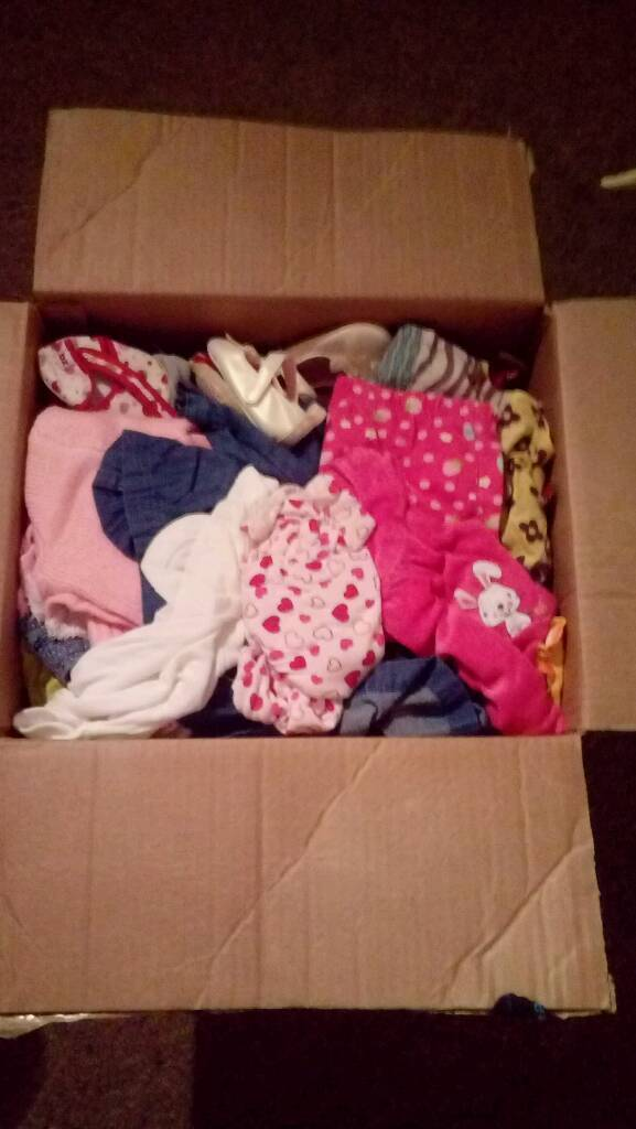 Box of various baby girl cloths and shoes PRICE DROP NOW ONLY £10