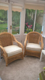 REDUCED! 2 Cane conservatory armchairs.Good condition.