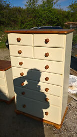 Pine & cream tallboy chest of drawers, dressing table and 10 drawer chest-cottage style