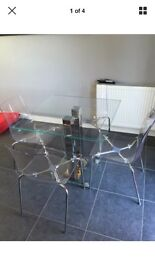glass table 4 chairs