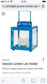 Brand new and boxed PartyLite Grecian lantern jar holder - Mediterranean Blue
