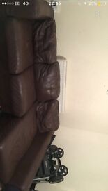 Large brown corner sofa