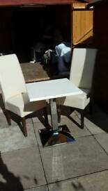 Frovi wedge chrome bitro table and 2 real leather chairs bargain £40