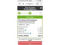 2 Tickets for Queen Extravaganza 30 October 2018