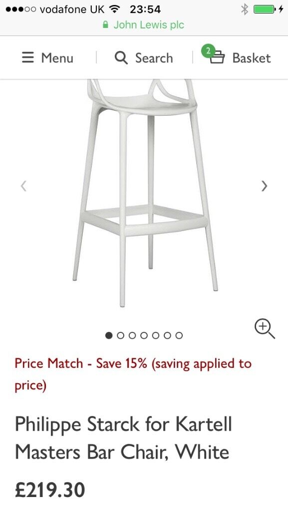 Two Original Philippe Starck White Bar stools