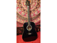 Quality Stagg Black Acoustic Guitar & Carry Case Backpack