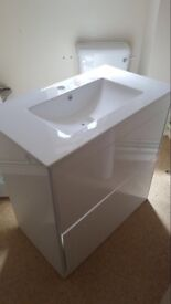 White gloss vanity unit with basin