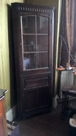 Corner display cabinet - oak