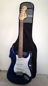 Fender Squire strat electric guitar and case
