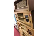 2 door clear glass TV unit - wood