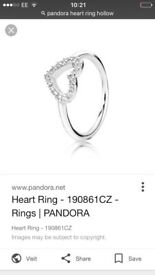 Pandora heart shaped ring